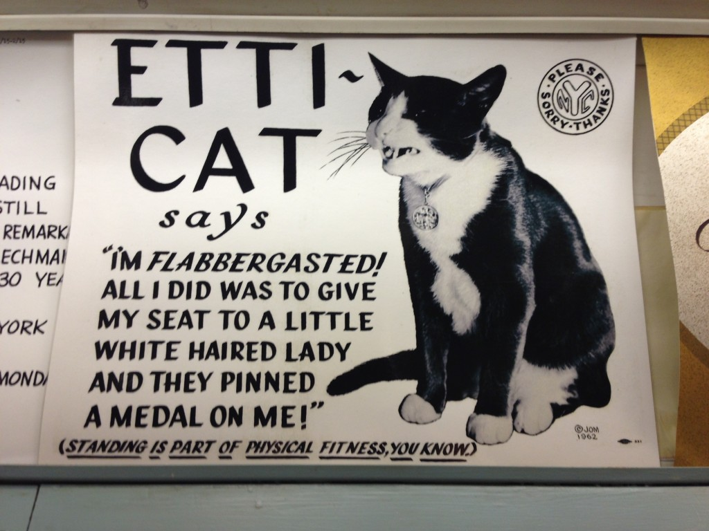 Play on words. Etti-cat. My favorite subway ad on an old train