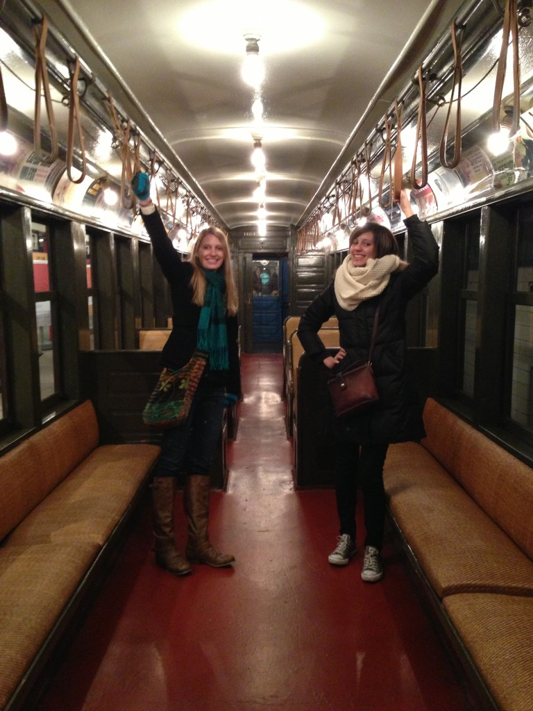 Amy and Kristen in one of the first style subway cars