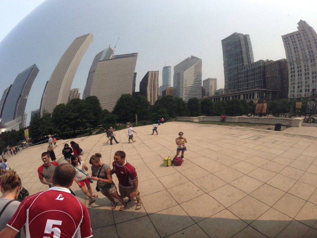 With all my luggage at The Bean