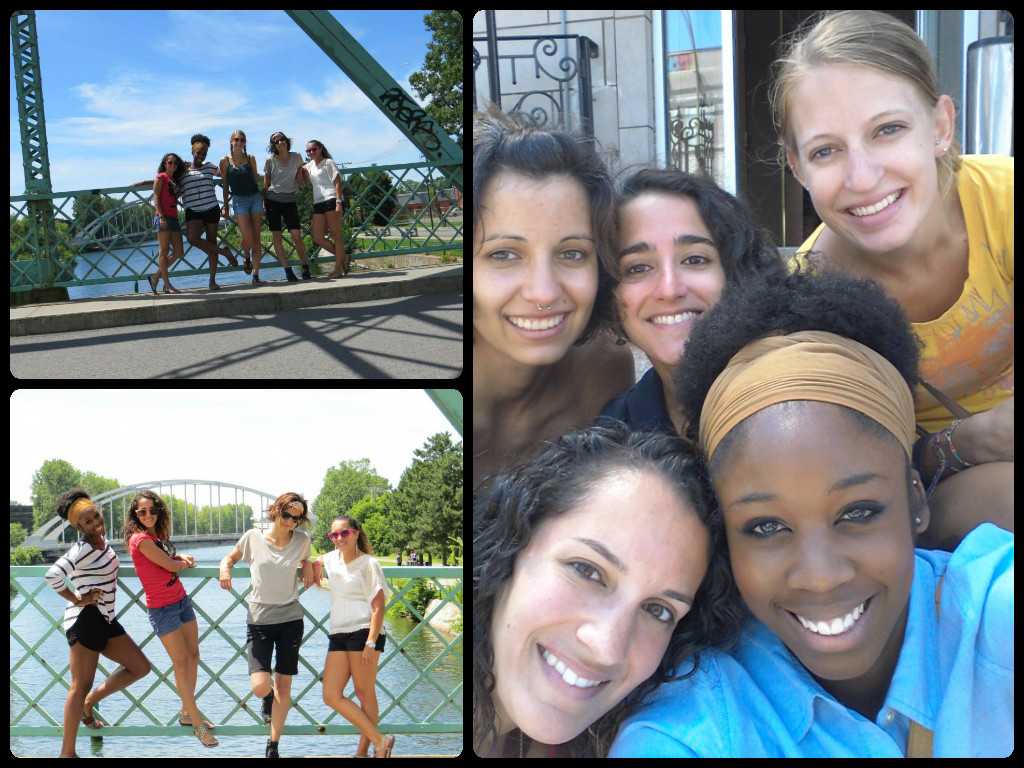 From clockwise from top left of long picture: Kristen, me, Amy, Bassey and Stephanie